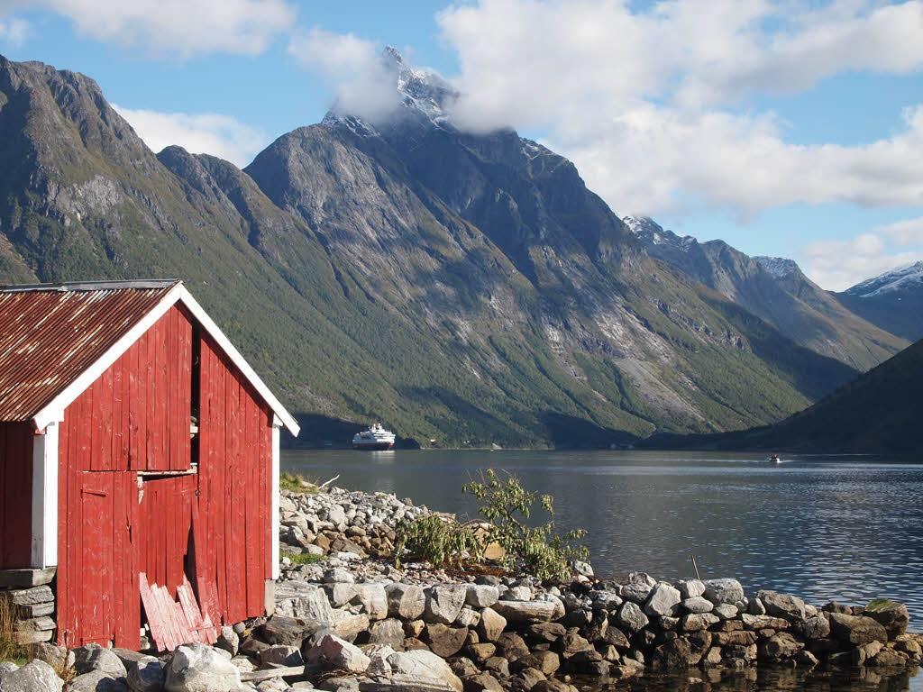 Hurtigruten in Hjorundfjord by Arne Gjære, Hurtigruten