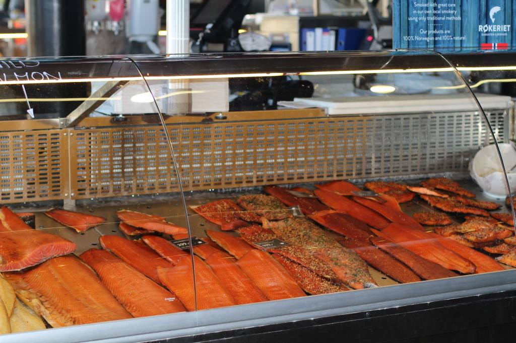 Salmon at the fish market in Bergen. Photo by Rita de Lange, Fjord Travel Norway
