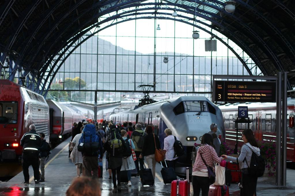 Bergen line departing Bergen station. Rita de Lange, Fjord Travel Norway