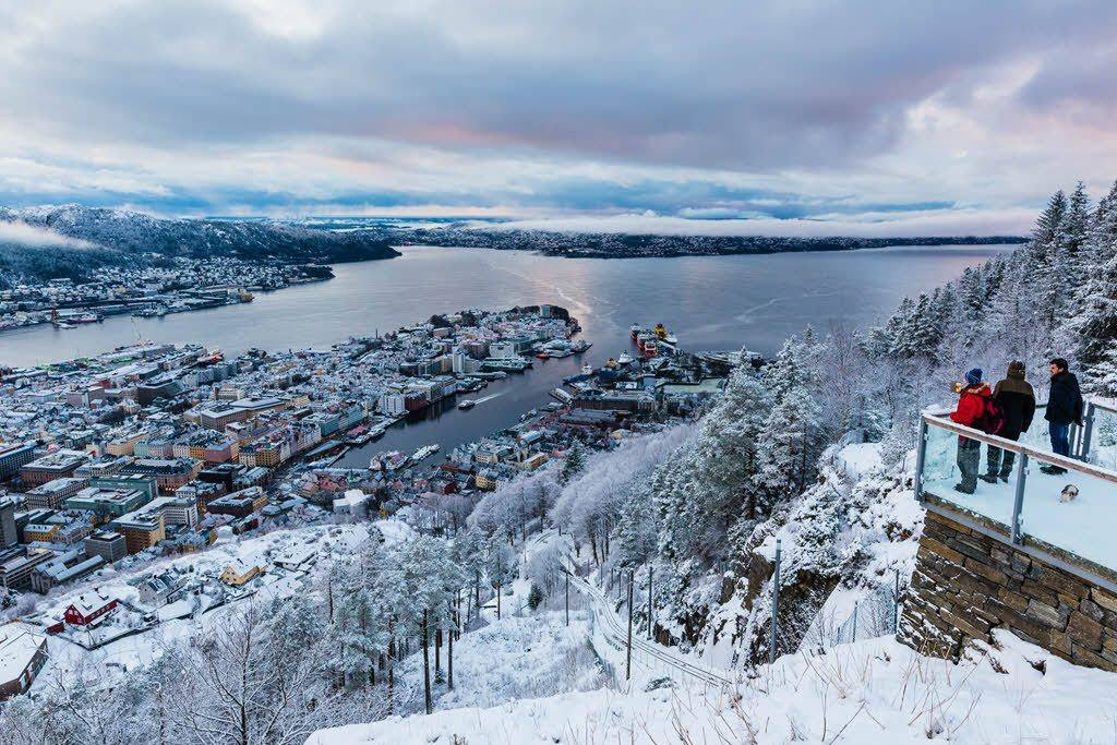 View from Mount Floyen in winter by Grim Berge, Visit Norway