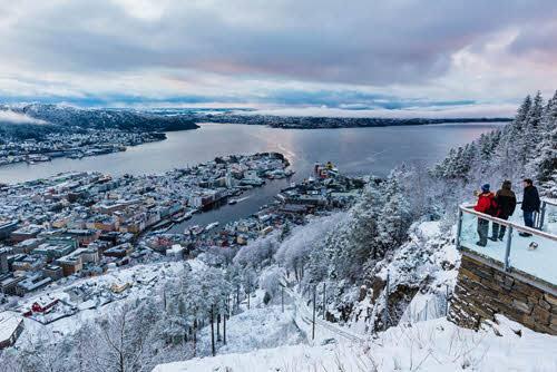 Winter in Bergen, Grim Berge, Fjord Norway