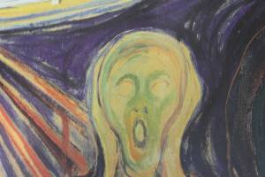 Edvard's Munch's scream, wall decoration in a coffee shop. Photo by Rita de Lange, Fjord Travel Norway