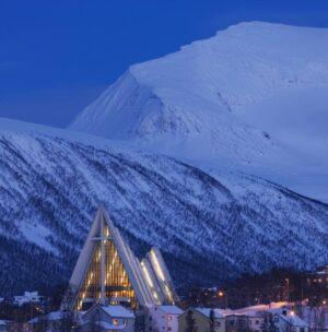 Arctic twilight & The arctic cathedral Tromso Norway. Photo by Baard Loeken Nordnorsk Reiseliv