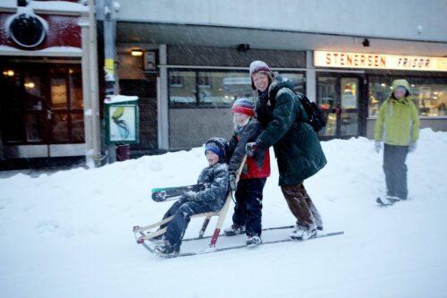 Snow in Tromso, Norway. Photo by Yngve Olsen Saebbe, Nordnorsk Reiseliv