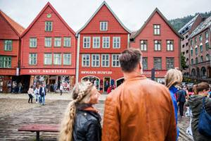 Colourful houses in Bryggen area Bergen by Martin Handlykken, Visit Bergen