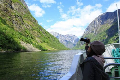 Enjoying The View In UNESCO Naeroyfjord By Paul Edmundson, Fjord Norway