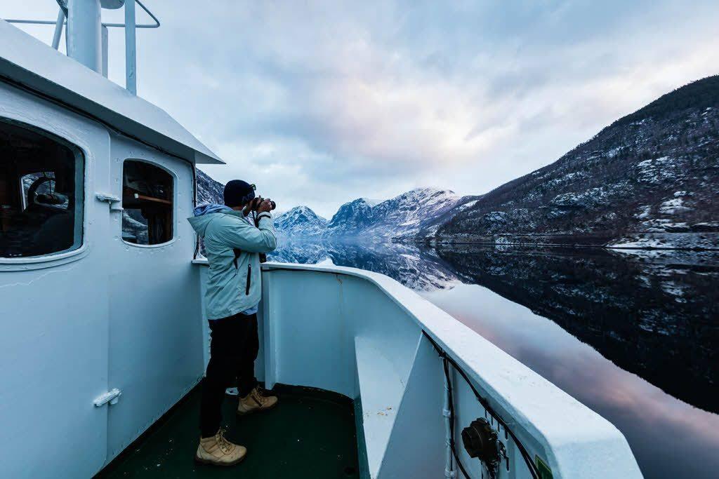 UNESCO Naeroyfjord in winter by Grim Berge, Fjord Norway