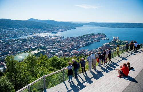 View from Mount Floyen in Bergen by Sverre Hjornevik, Fjord Norway