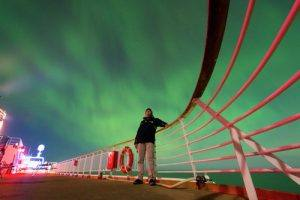 Northern Lights from aboard a Hurtigruten Ship. Photo by Magnus Sabel / Hurtigruten.