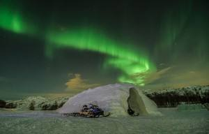 Northern lights at the Snow hotel. Photo by Kirkenes Snow hotel