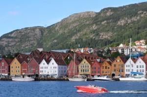 Bergen Norway photo; the UNESCO Bryggen wharf. Photo by Rita de Lange, Fjord Travel Norway