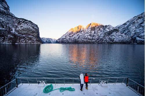 Winter Cruise on Naeroyfjord by Sverre Hjornevik, Flam AS