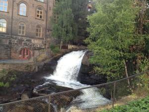 Akerselva river Oslo Norway, waterfall at Grünerlokka. Photo by Rita de Lange, Fjord Travel Norway