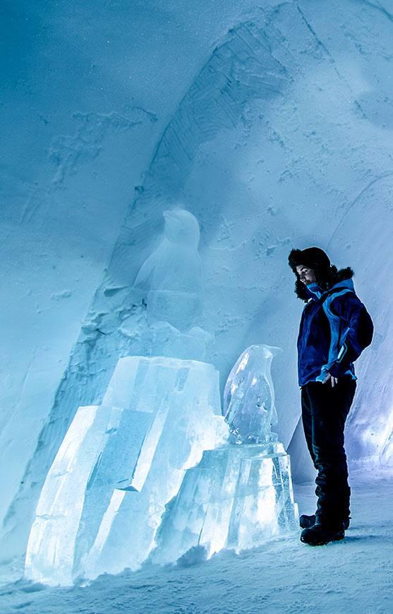 Inside the snow hotel by Kirkenes Snow hotel