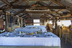 Lunch setting on King Crab safari by Orjan Bertelsen, Hurtigruten