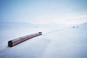 The Arctic Nordland Line during winter by Øivind Haug, NSB