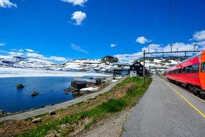 Bergen Railway on Hardangervidda Mountain Plateau by Tore Bjorback, NSB