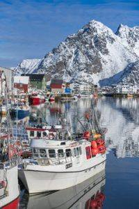 Fishing boats on Lofoten Islands by Orjan Bertelsen, Hurtigruten