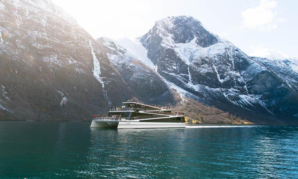 Naeroyfjord cruise in winter by Sverre Hjornevik, Flam AS