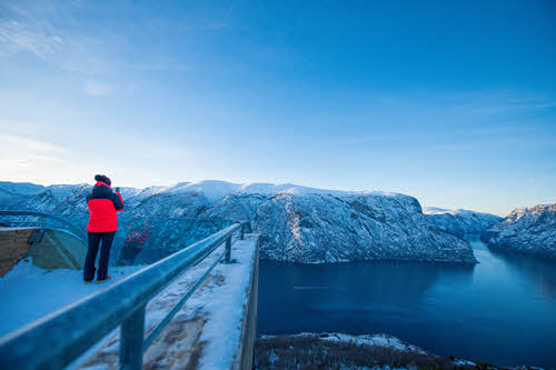 Winter view from Stegastein Viewpoint by Sverre Hjornevik, Flam AS