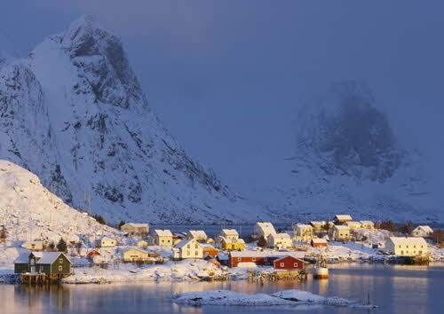 Small fishing village on Lofoten Islands in winter by Baard Loeken, Nordnorsk Reiseliv